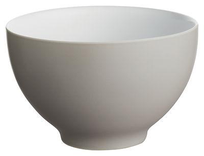 Tischkultur - Salatschüsseln und Schalen - Tonale Schale Große Schale - Alessi - Hellgrau / innen Weiß - Keramik im Steinzeugton