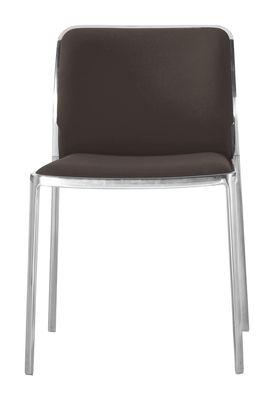 Arredamento - Sedie  - Sedia imbottita Audrey Soft - / seduta in tessuto - Struttura in alluminio lucido di Kartell - Struttura: alluminio lucido / Tessuto Trevira marrone - Alluminio lucido, Tessuto