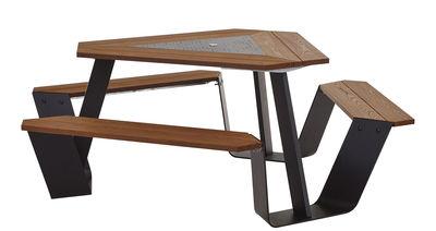 Set table & bancs Anker / Ø 216 cm - 6 personnes - Extremis noir,bois foncé en métal
