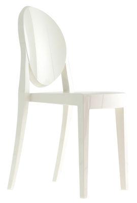 Möbel - Stühle  - Victoria Ghost Stapelbarer Stuhl Opak-Ausführung - Kartell - Opakweiß - Polykarbonat