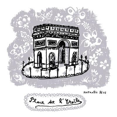 Interni - Per bambini - Sticker Place de l'Étoile - 25 x 25 cm di Domestic - Grigio - Vinile