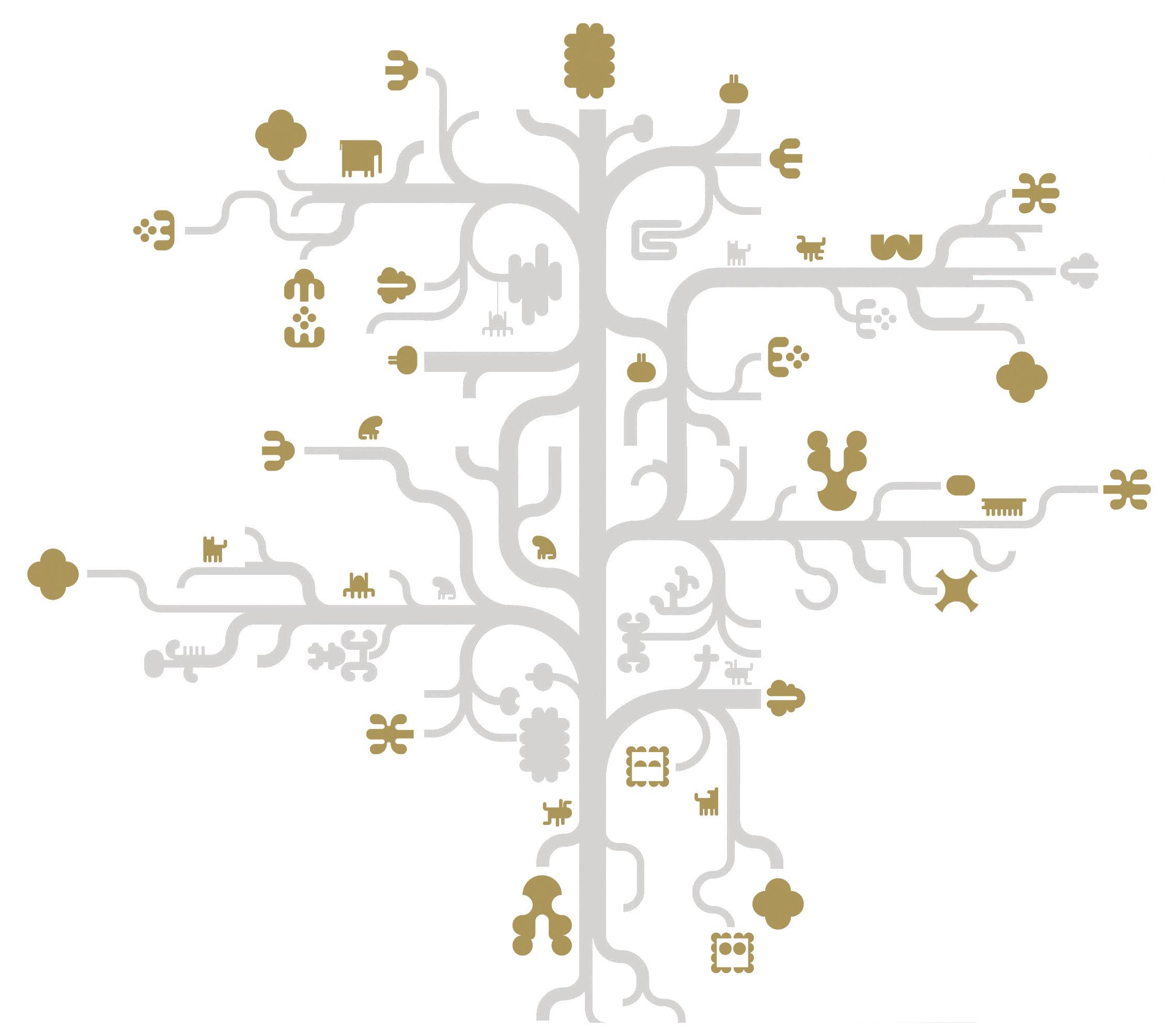 Dekoration - Stickers und Tapeten - Tree Gold Sticker - Domestic - Grau - vergoldet - Vinyl
