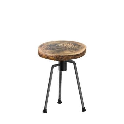 Furniture - Stools - Nikita Stool - / H 49 cm - Wood & metal by Zeus - Raw metal base / Wood - Solid wood, Steel