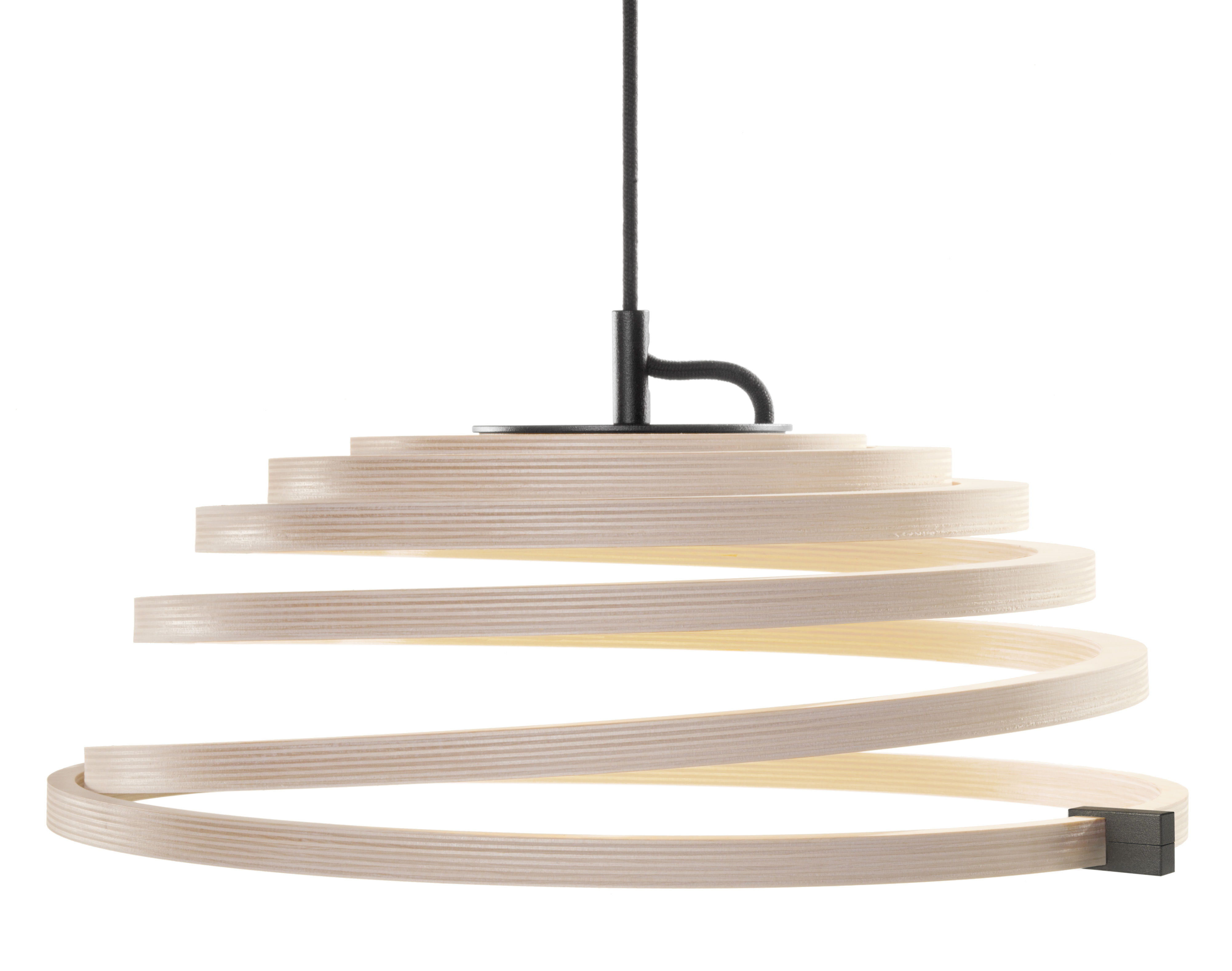 Luminaire - Suspensions - Suspension Aspiro LED / Ø 50 cm - Secto Design - Bouleau naturel / Câble noir - Bouleau massif, Textile