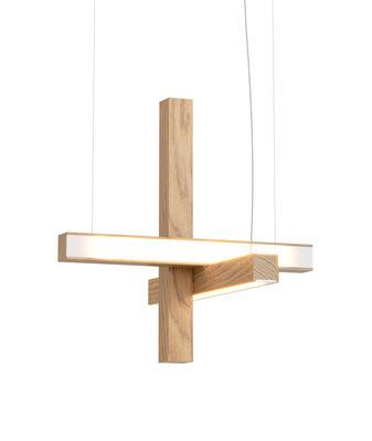 Luminaire - Suspensions - Suspension Led40 Cross / Bois - L 40 cm - Tunto - Chêne - Chêne massif huilé, Polypropylène