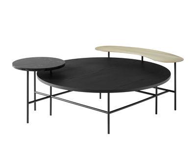 Table basse Palette JH25 / 3 plateaux - &tradition noir/or en métal/bois/pierre