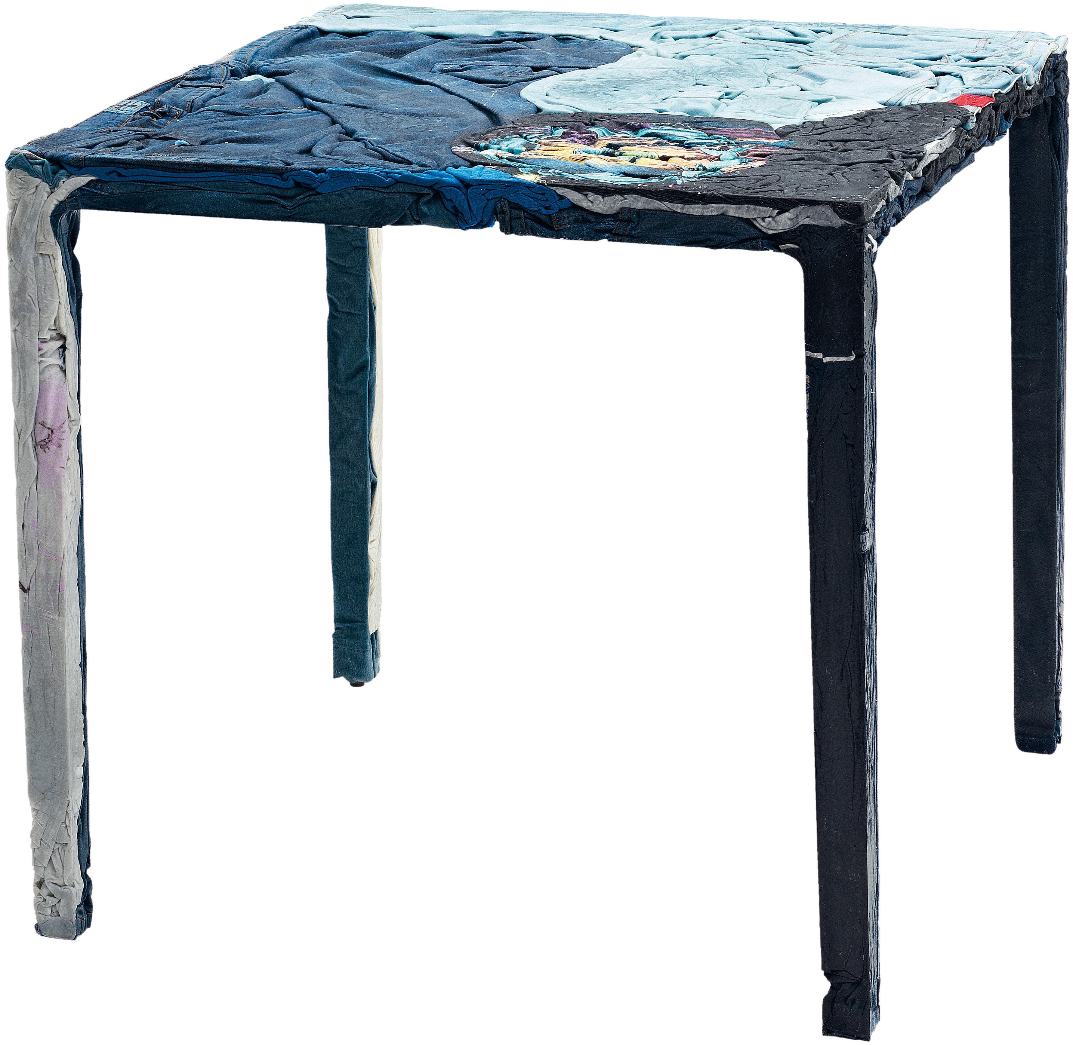 Mobilier - Tables - Table Rememberme / En jeans recyclés - Casamania - Table tons bleus - Jeans recyclés