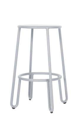 Mobilier - Tabourets de bar - Tabouret de bar Huggy / H 65 cm - Aluminium - Maiori - Gris frosty - Aluminium laqué époxy