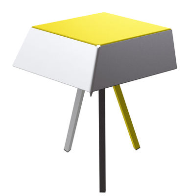 Arredamento - Tavolini  - Tavolino rotondo Kuban - / H 60 cm di Matière Grise - Bianco, antracite, giallo - Acciaio