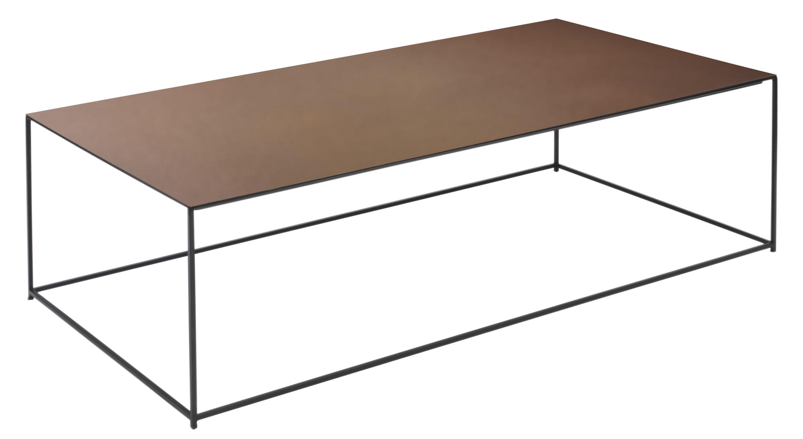 Arredamento - Tavolini  - Tavolino basso Slim Irony / 124 x 62 x H 34 cm - Zeus - Metallo ruggine / Piede nero ramato - Acciaio verniciato