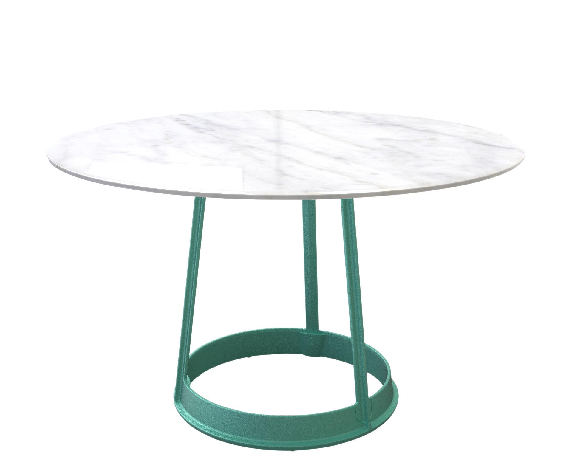Tendenze - A tavola! - Tavolo rotondo Brut - / Marmo & lamiera - Ø 130 cm di Magis - Marmo bianco / Piede verde - Ghisa verniciata, Marmo di Carrara