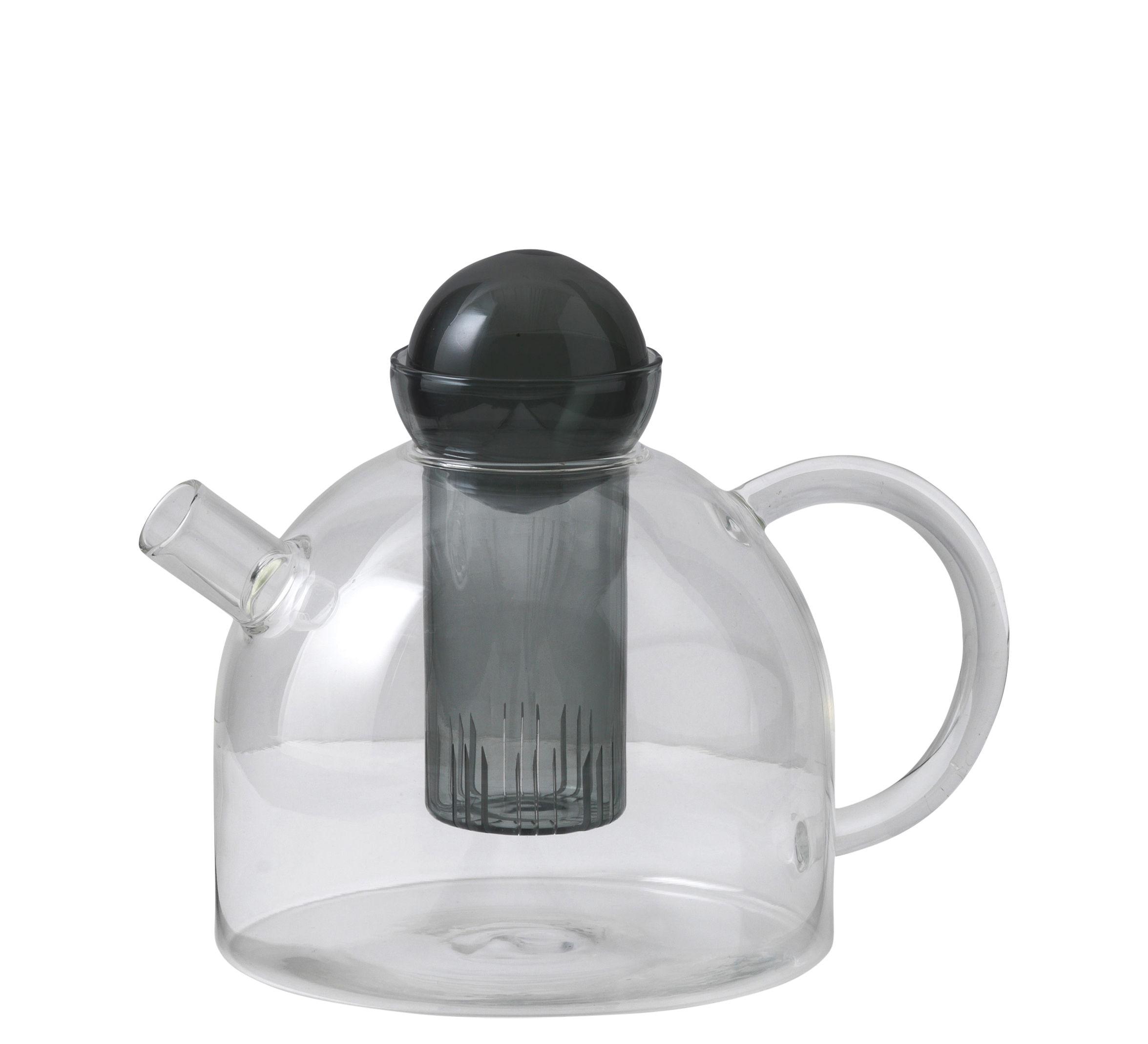 Küche - Teekannen und Wasserkessel - Still Teekanne / 1,25 l - mundgeblasenes Glas - Ferm Living - Transparent / schwarz - mundgeblasenes Glas