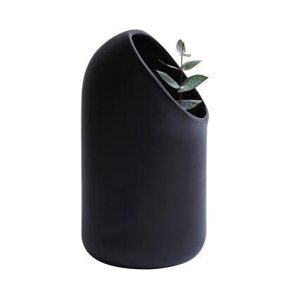 Dekoration - Vasen - Ô Vase - Moustache - Schwarz - emailliertes Terrakotta