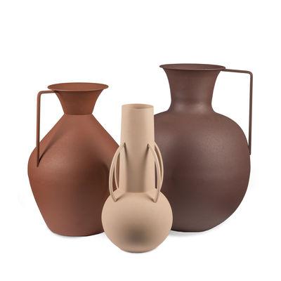 Interni - Oggetti déco - Vaso Roman - / Set di 3 - metallo (solo uso decorativo) di Pols Potten - Toni Marroni - Ferro laccato epossidico, Finitura sabbiata opaca