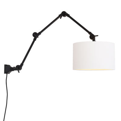 Lighting - Wall Lights - Amsterdam Large Wall light with plug - / Fabric lampshade - L 100 cm by It's about Romi - Black / White lampshade - Fabric, Iron