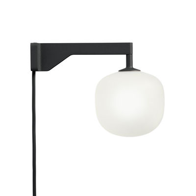 Lighting - Wall Lights - Rime Wall light with plug - / Hand-blown glass by Muuto - Black / White sphere - Aluminium, Mouth blown glass