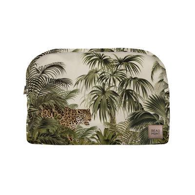Accessories - Bags, Purses & Luggage - Tresors Wash bag - / Velvet - L 30 cm by Beaumont - Leopard / Green & beige - Fleece, Polyester, Velvet