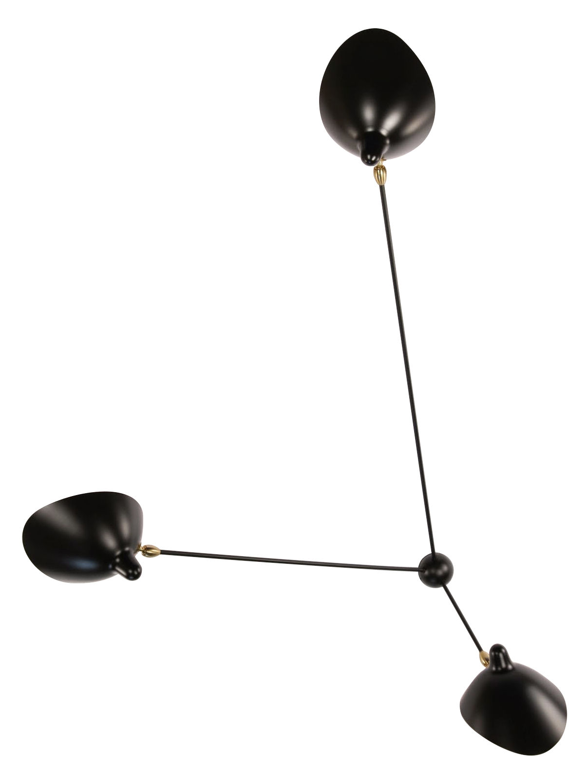Luminaire - Appliques - Applique Araignée / 3 bras fixes - 1955 - Serge Mouille - Noir - Laiton, Métal laqué