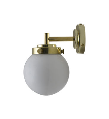 Applique Mini Globe / Ø 12 cm - Verre soufflé - Original BTC opalin,laiton en métal