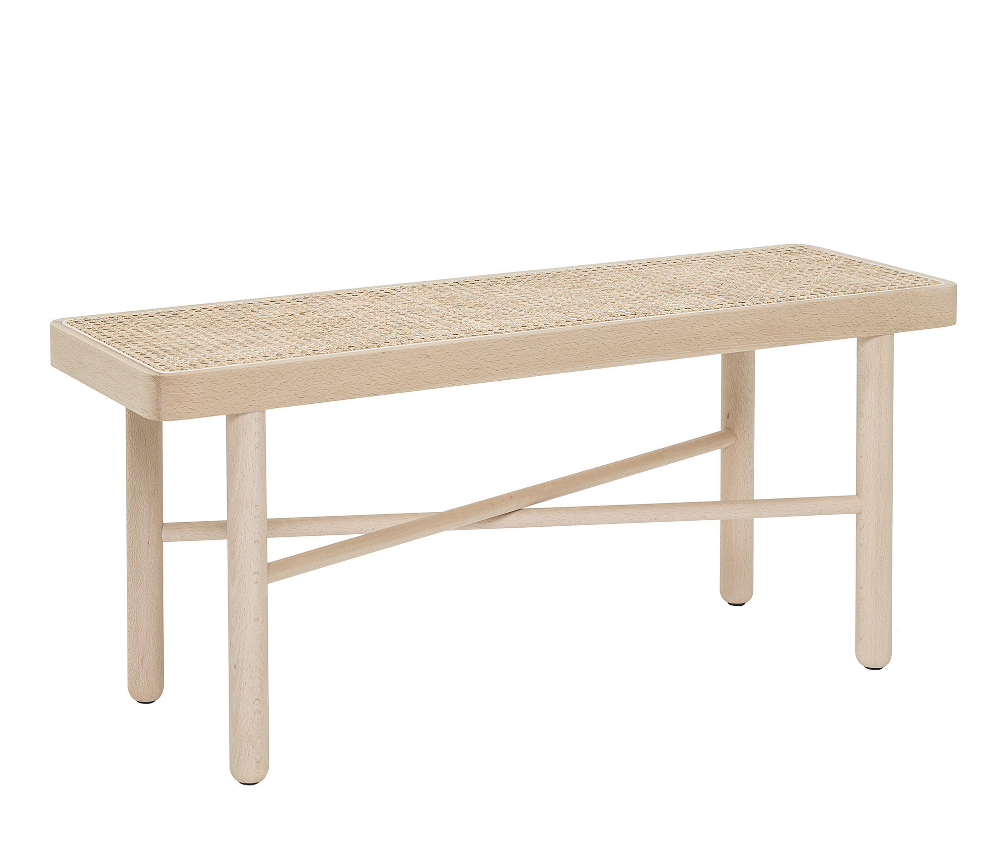 Furniture - Benches - Luna Bench - / Wood & teak - L 100 cm by Bloomingville - Beechwood & natural straw - Natural beechwood, Straw