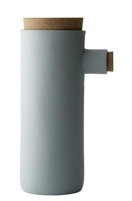 Bocal Spoonless Large / Ø 9 x H 22,5 cm - Céramique & liège - Menu vert pâle,liège en céramique
