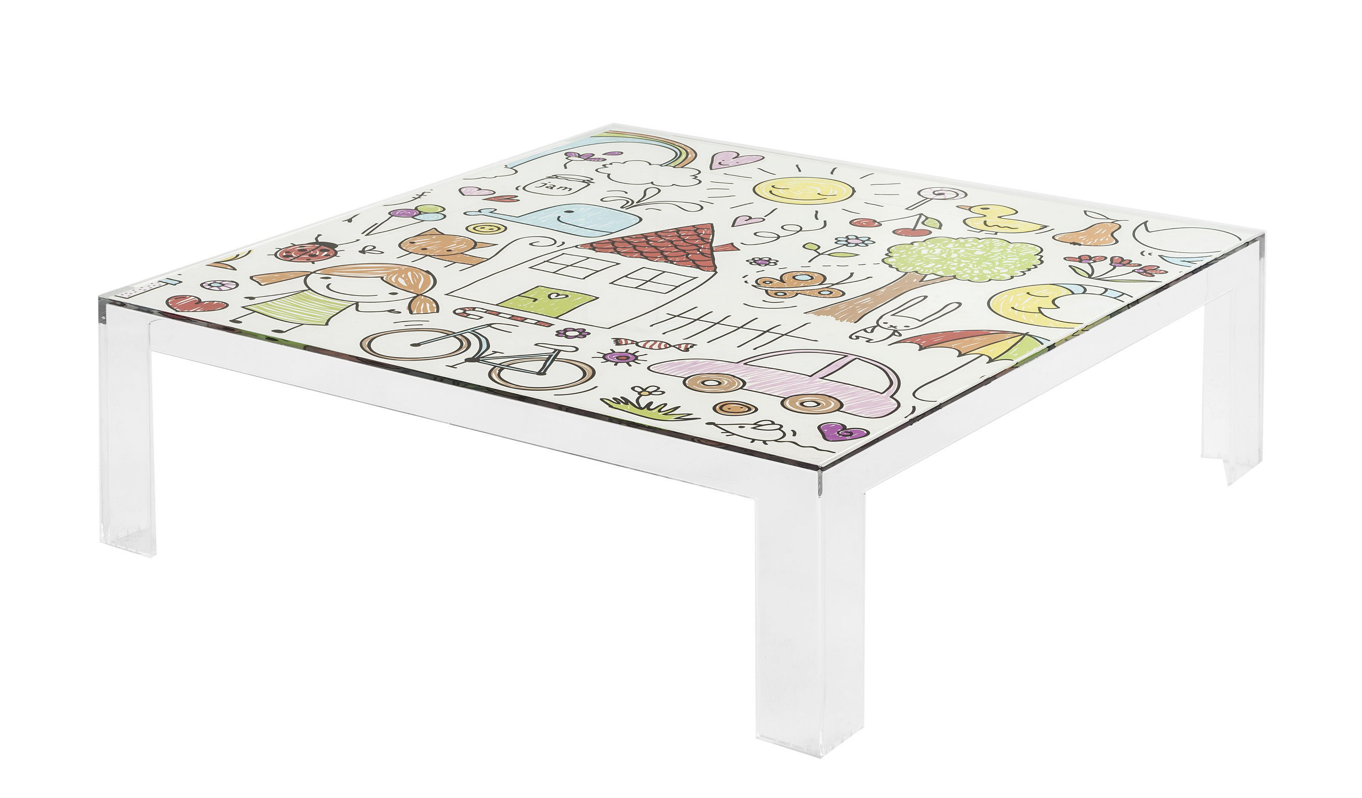 Furniture - Kids Furniture - Invisible Kids Children table - / Patterns by Kartell - Colored patterns / Transparent - PMMA
