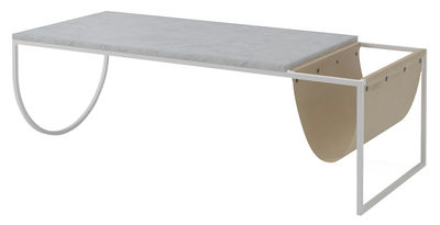 Furniture - Coffee Tables - Piero Coffee table - Marble & leather - L 130 x H 40 cm by Bolia - Grey / White marble - Leather, Marble, Painted steel