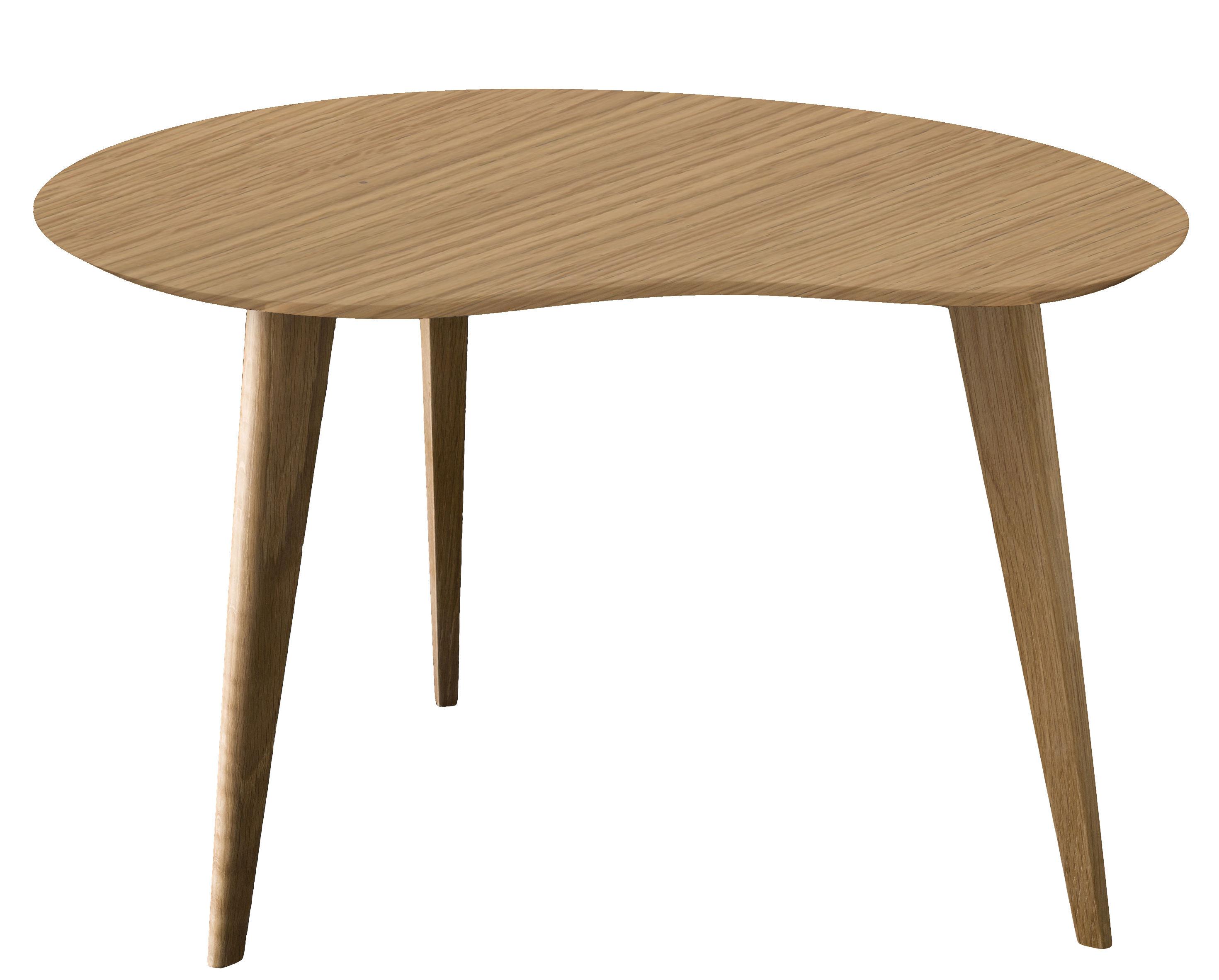 Möbel - Couchtische - Lalinde Couchtisch Nierentisch - groß / Tischbeine aus Holz - Sentou Edition - Eichenholz /Tischbeine dunkles Holz - Holzfaserplatte, klarlackbeschichtete Eiche
