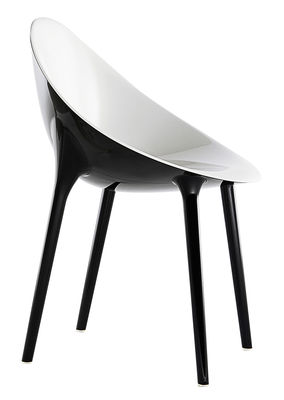 Mobilier - Chaises, fauteuils de salle à manger - Fauteuil Super Impossible bicolore / Polycarbonate - Kartell - Noir / intérieur blanc - Polycarbonate