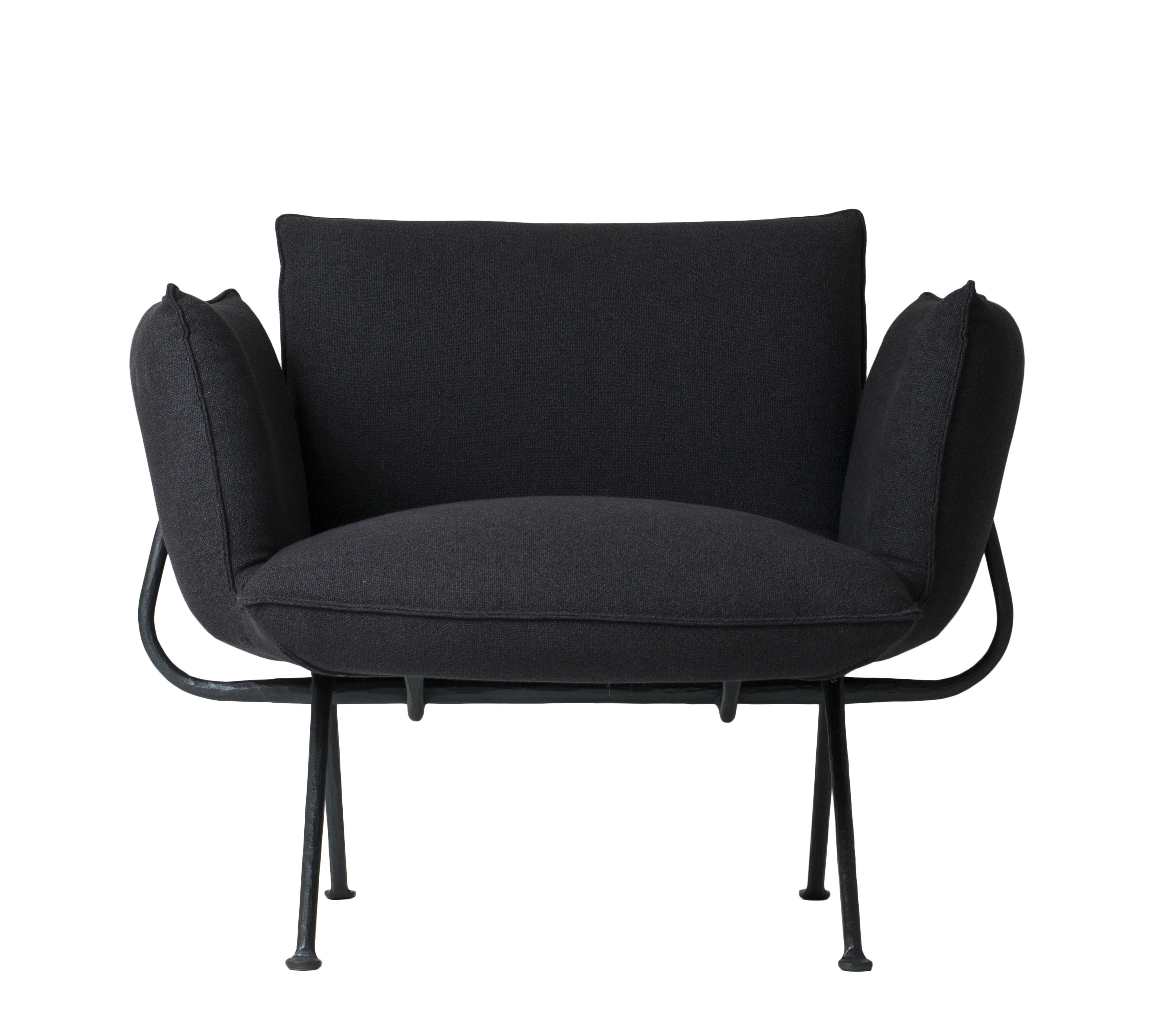 Möbel - Lounge Sessel - Officina Gepolsterter Sessel / Stoffbezug - Magis - Bezug dunkelgrau / Gestell schwarz - Kvadrat-Gewebe, Lackiertes Schmiedeeisen