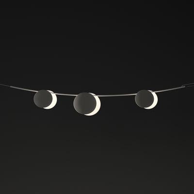 Guirlande lumineuse extérieur June LED / Disques - L 130 cm - Vibia blanc,marron foncé en matière plastique