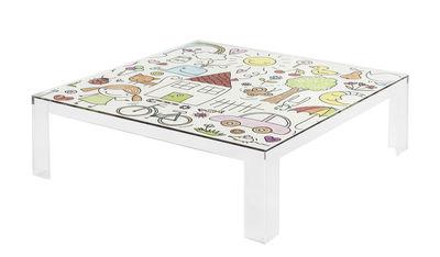 Möbel - Möbel für Kinder - Invisible Kids Kindertisch / mit Motiv auf der Tischplatte - Kartell - Mehrfarbige Motive / transparent - PMMA