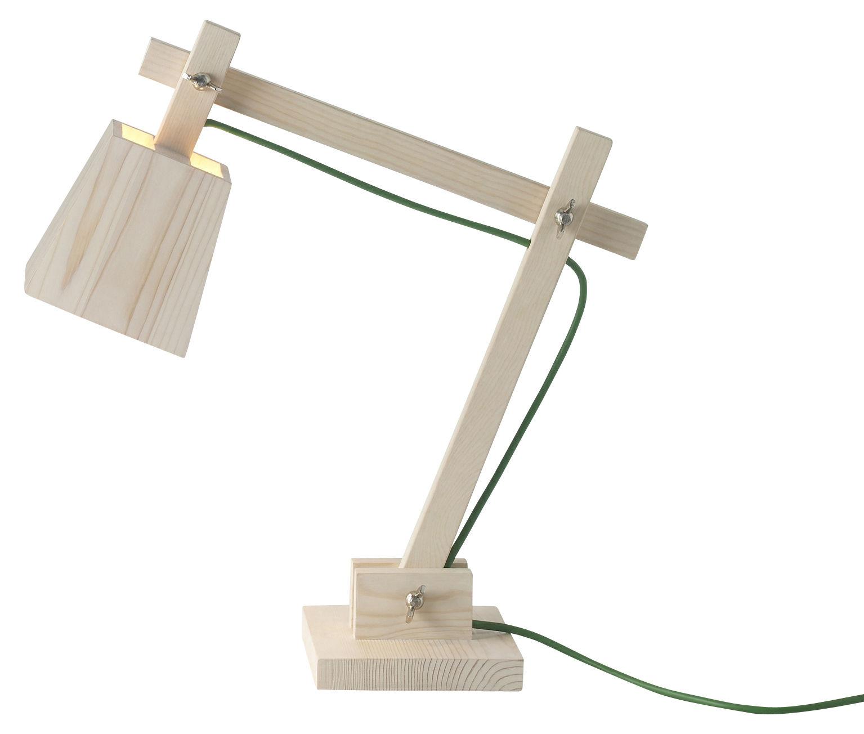 Illuminazione - Lampade da tavolo - Lampada da tavolo Wood Lamp di Muuto - Legno/Filo verde - Pino