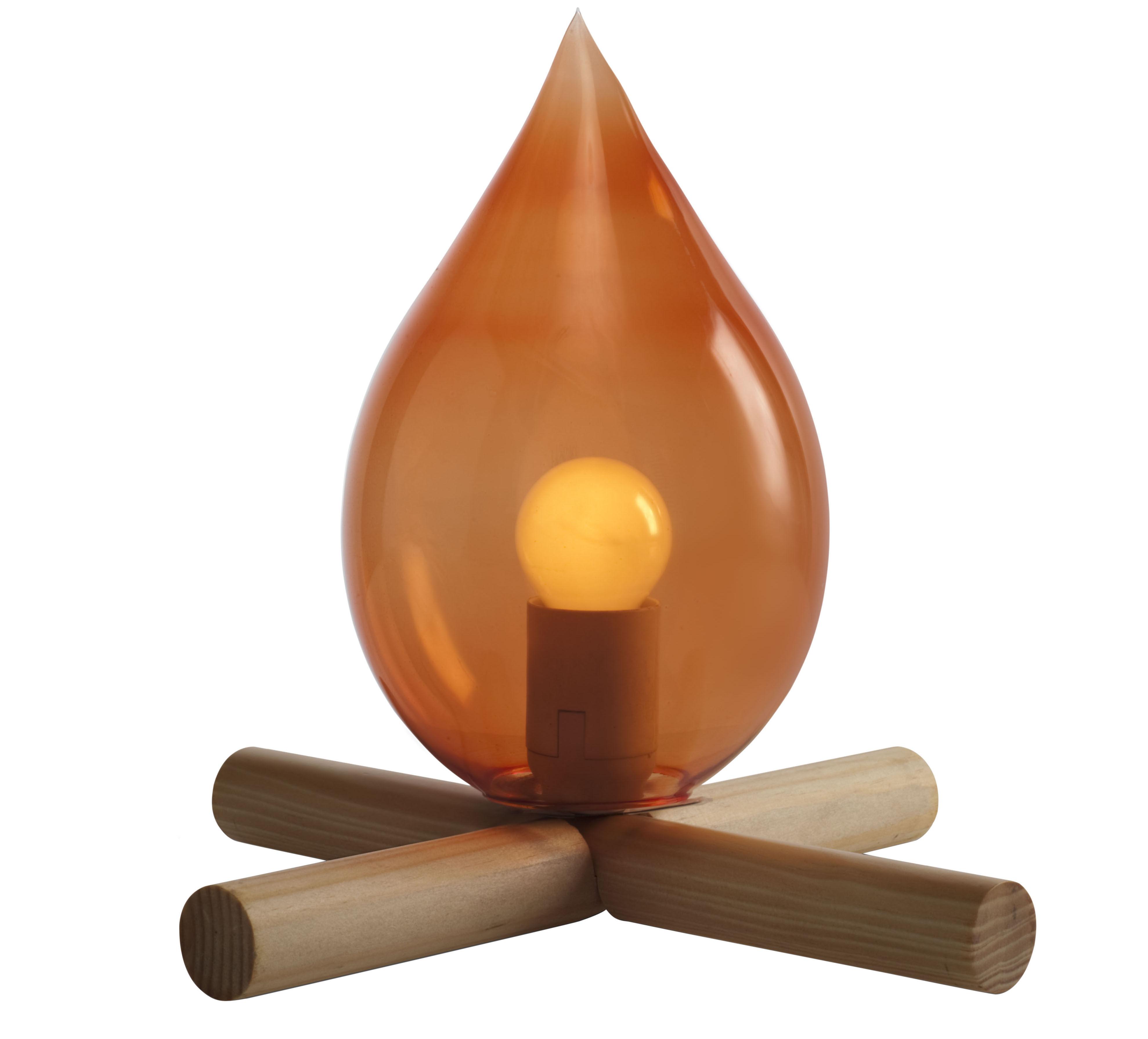 Luminaire - Lampes de table - Lampe de table Fire Kit - Skitsch - Bois & orange - Bois massif, Verre soufflé