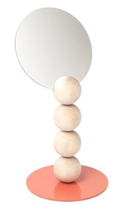 Déco - Miroirs - Miroir à poser Emma / H 40 cm - Y'a pas le feu au lac - Naturel & Corail - Métal laqué, Tilleul