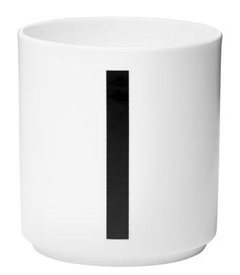 Mug Arne Jacobsen / Porcelaine - Lettre I - Design Letters blanc en céramique