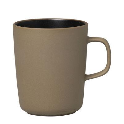 Arts de la table - Tasses et mugs - Mug Oiva / 25 cl - Marimekko - Oiva / Beige Terre & noir - Grès