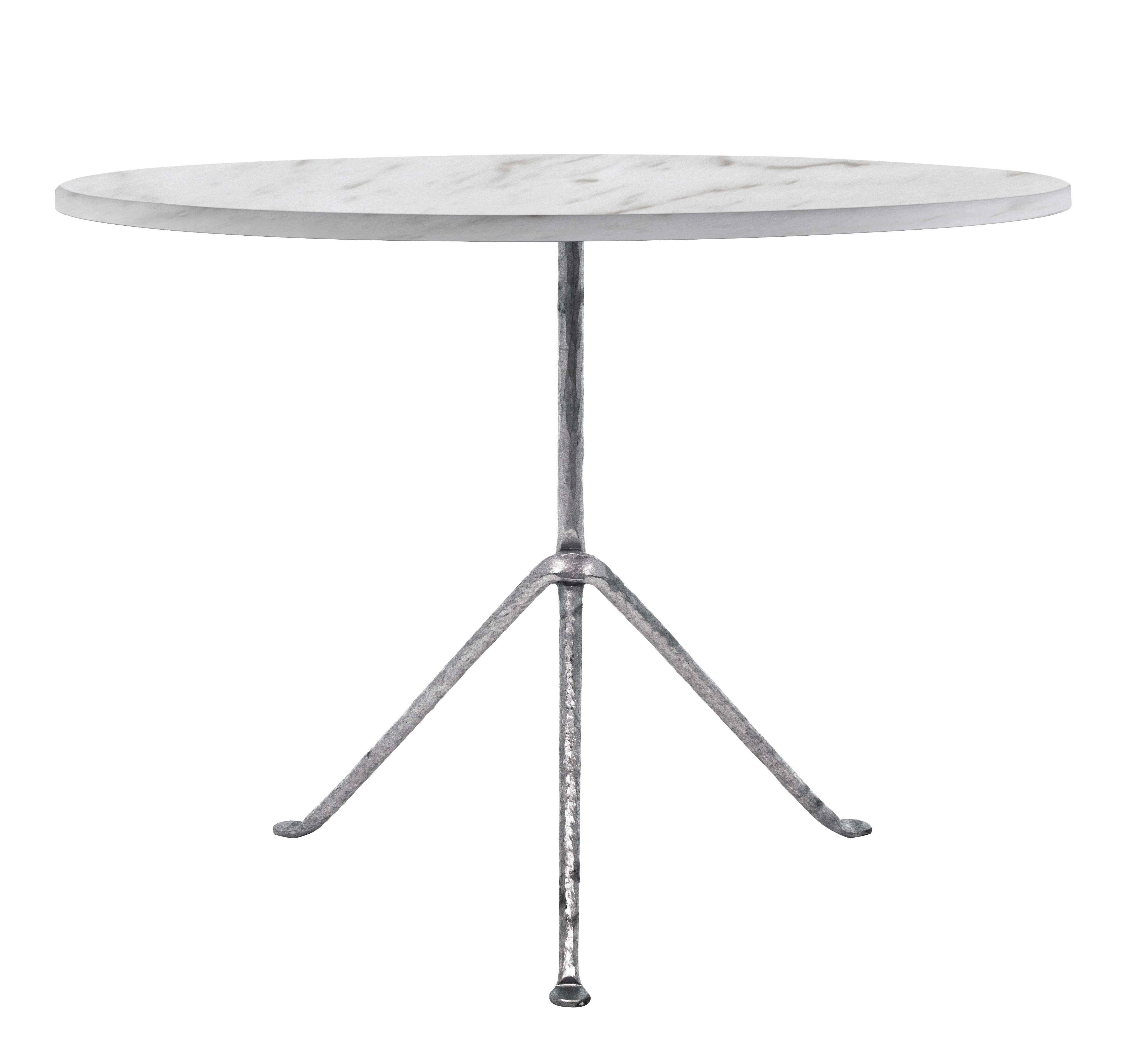 Table ronde Officina Outdoor Magis - Marbre blanc / Pieds galvanisés ...