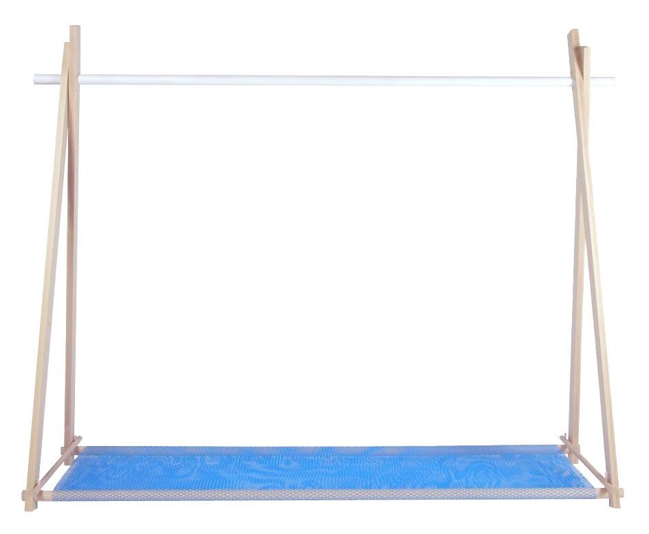 Mobilier - Meubles de rangement - Portant LeKit Large / L 166 x H 134 cm - FAB design - Hêtre & blanc / Filet bleu - Hêtre massif