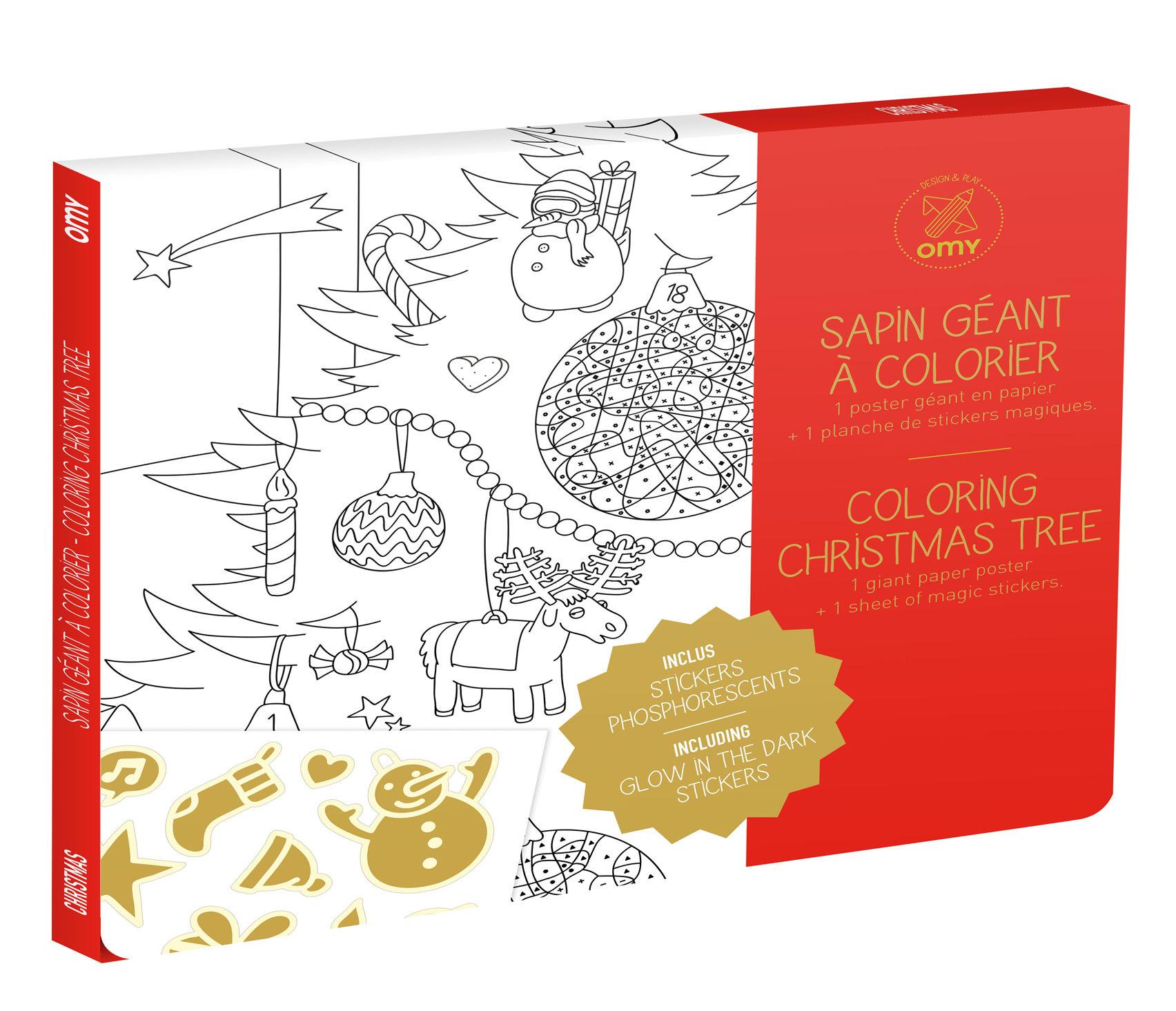 Déco - Pour les enfants - Poster à colorier Sapin géant / 100 x 70 cm - Avec stickers phosphorescents - OMY Design & Play - Sapin géant - Papier recyclé