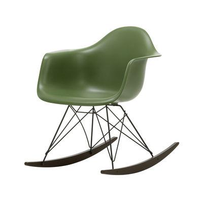 Furniture - Armchairs - RAR - Eames Plastic Armchair Rocking chair - / (1950) - Black legs & dark wood by Vitra - Forest green / Black / Dark wood - Epoxy lacquered steel, Polypropylene, Solid maple