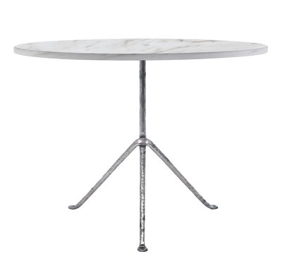 Outdoor - Garden Tables - Officina Outdoor Round table - Ø 100 cm - Marble by Magis - White marble / Galvanized legs - Carrare marble, Wrought iron