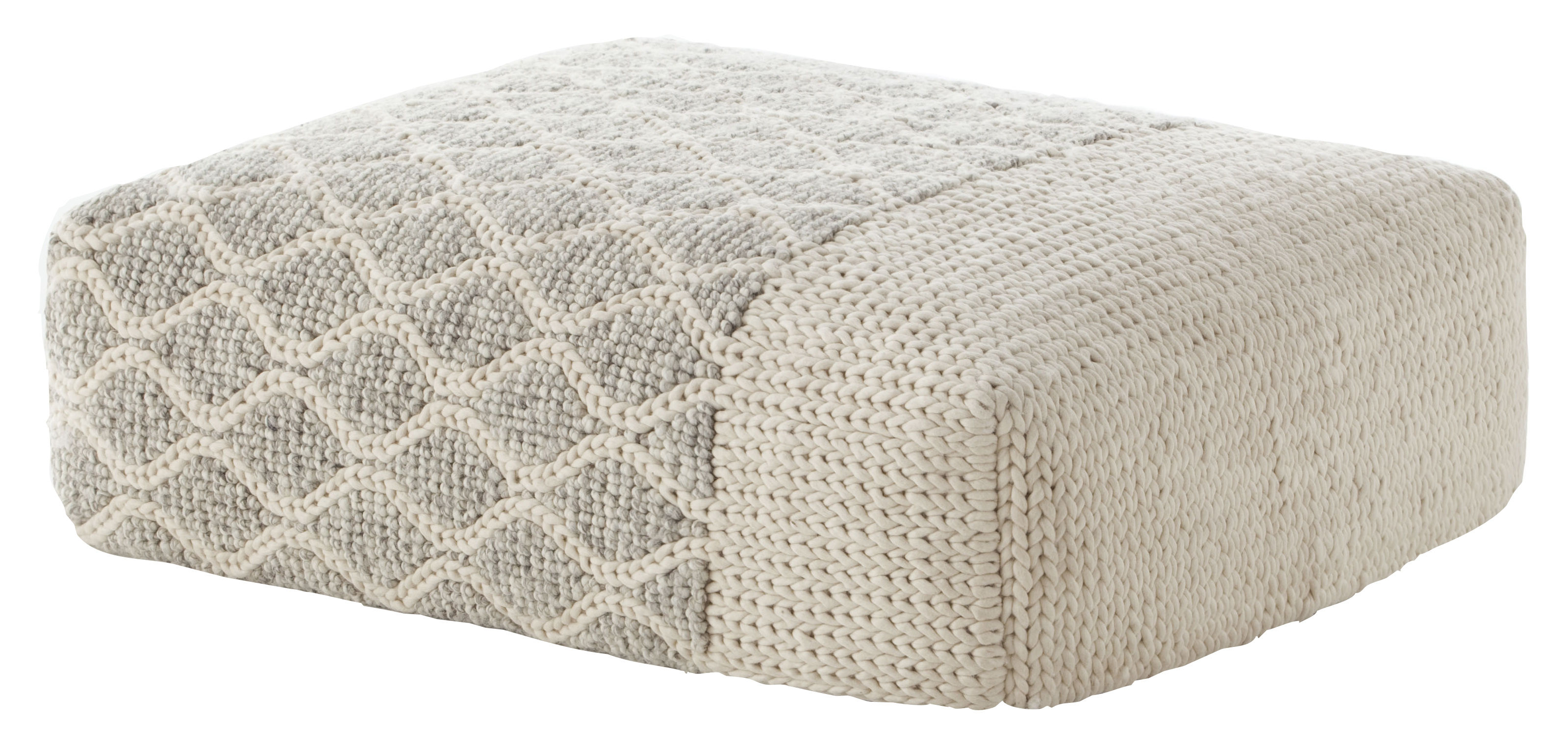 Möbel - Sitzkissen - Mangas Space Rhombus Sitzkissen / 120 x 90 x H 30 cm - Gan - Elfenbeinfarben - Laine vierge, Mousse caoutchouc