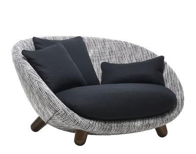 Möbel - Sofas - Love Sofa / 2 Plätze - L 129 cm - Moooi - Schwarz & weiß / Schwarze Kissen / Holz zimtfarben - getönte Eiche, Schaumstoff, Schlingenpol, Stahl