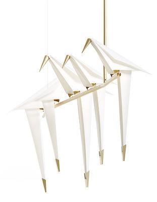 Illuminazione - Lampadari - Sospensione Perch Light Branch LED - / Uccelli mobili - L 100 cm di Moooi - Bianco & ottone - Acciaio, Alluminio, Polipropilene