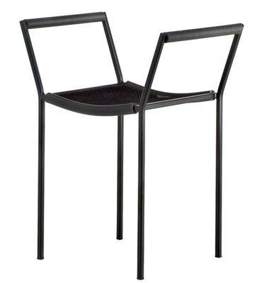 Furniture - Stools - Savonarola Stool - With armrests / H 48 cm by Zeus - Black - Polyurethane, Steel