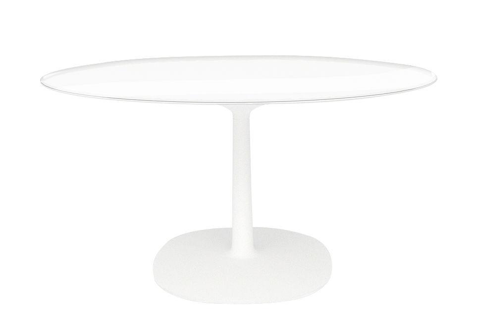 Jardin - Tables de jardin - Table Multiplo Verre / Ø 78 cm - Kartell - Plateau transparent / Blanc - Aluminium verni, Verre