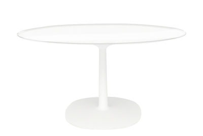 Outdoor - Garden Tables - Multiplo Table - Glass / Ø 78 cm by Kartell - Transparent top / White - Glass, Varnished aluminium