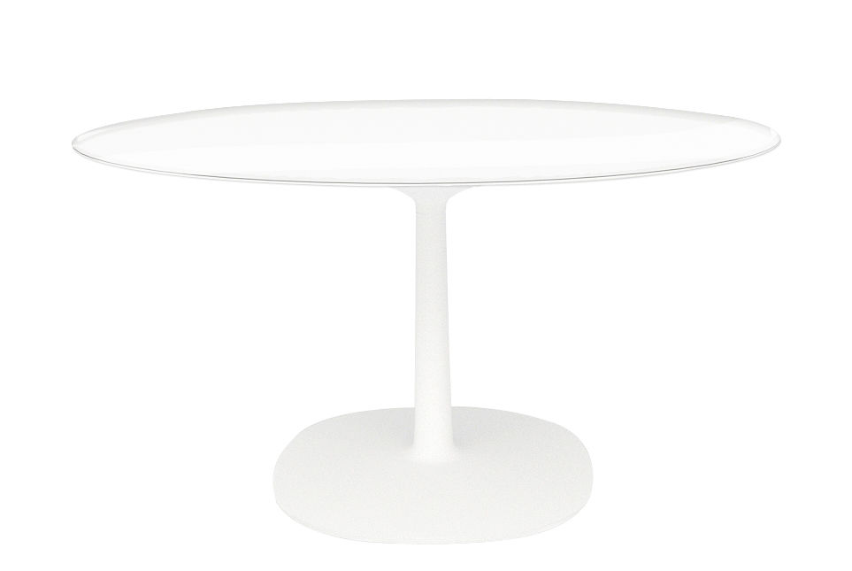 Jardin - Tables de jardin - Table ronde Multiplo Verre / Ø 118 cm - Kartell - Plateau transparent / Blanc - Aluminium verni, Verre