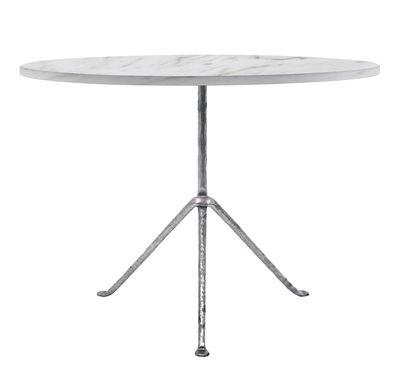 Outdoor - Tavoli  - Tavolo rotondo Officina Outdoor - / Ø 120 cm - Piano marmo di Magis - Marmo bianco / Gambe galvanizzate - Ferro battuto , Marmo di Carrara